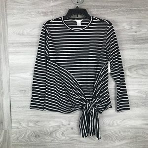 Caslon Front Tie Stripped Long Sleeve